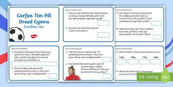 Carfan Tim Pel Droed Cymru, Cardiau Her Mathemateg Blwyddyn 2 - Tîm pêl-droed Cenedlaethol Cymru, Wales Football Team, Wales, Football, Pel-droed, pel-droed, rhif