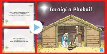 Taraigí a Phobail Song PowerPoint-Irish - Irish, Gaeilge, Religion, Christmas, Nollag, carols, traditional, carúl, song, O come all ye faithf