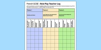 GCSE Français Jeu de rôle Feuille d'enregistrement pour professeurs - french, GCSE, Role Play, Record Log, Teacher