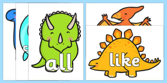 Tricky Words on Dinosaur - Tricky words, DfES Letters and Sounds, Letters and sounds, t-rex, stegosaurus, raptor, iguanodon, tyrannasaurus rex