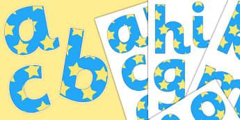 Paper Saving Blue Yellow Stars Display Alphabet Numbers, Symbols