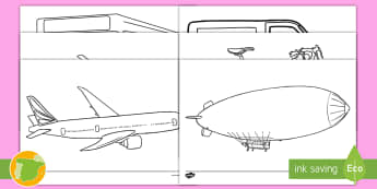 Hojas de colorear: El transporte - transporte, coche, camión, avión, globo aerostático, autobús, moto, motocicleta, vía, carretera