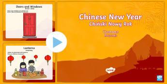 Chinese New Year Customs PowerPoint English/Polish - Chinese New Year, KS1, KS2, EYFS, Celebration, festivals, rooster,Polish-translation