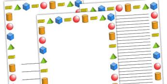 3D Shapes Page Borders - 3d shapes, shapes, 3d shape page borders, 3d shapes writing frames, maths page borders, shapes page borders, maths themed pages