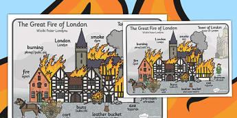 The Great Fire of London Scene Word Mat Polish Translation - polish