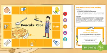 Pancake Race Board Game Busy Bag Prompt Card and Resource Pack - EYFS, Pancake Day,February, 28th, Shrove Tuesday, pancake, cooking, board game