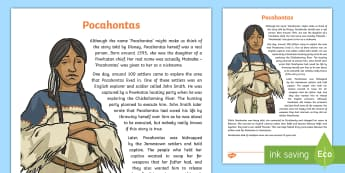 Native Americans Pocahontas Information Sheet - Native Americans, famous Native Americans, John Smith, John Rolfe,Scottish