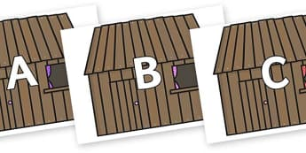 A-Z Alphabet on Wooden Houses - A-Z, A4, display, Alphabet frieze, Display letters, Letter posters, A-Z letters, Alphabet flashcards