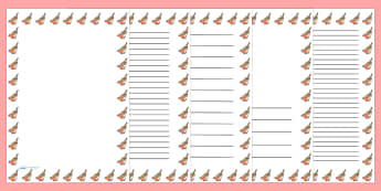 Robin Portrait Page Borders- Portrait Page Borders - Page border, border, writing template, writing aid, writing frame, a4 border, template, templates, landscape