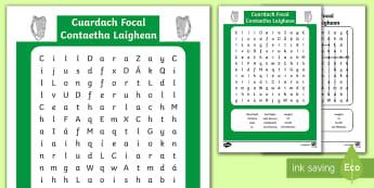 Contaetha Laigheann Word Search - Laighean, contae, Éire, word search, lú, mhí, Átha Cliath, Cill Mhantain, Cill Daire, Cill Chain