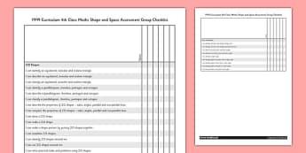 1999 Curriculum 4th Class Maths Shape and Space Assessment Group Checklist - roi, gaeilge, maths, curriculum, 1999