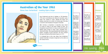 Year 3 History of Australian of the Year Display Posters - Australian Curriculum, HASS Diverse backgrounds have played in the development and character of the