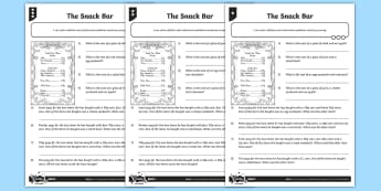 The Snack Bar Differentiated Activity Sheets - measurement, money, addition and subtraction, word problems