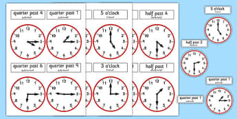 Analogue Clocks Arabic Translation - arabic, analogue, clocks, time, quarter past, o'clock