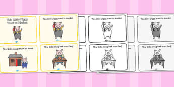 This Little Piggy Sequencing (4 per A4) - This Little Piggy, nursery rhyme, rhyme, sequencing, rhyming, nursery rhyme story, nursery rhymes, The Little Piggy Resources, pig, pigs, farm