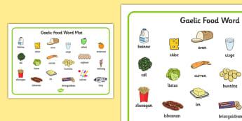 Gaelic Food Word Mat - gaelic, food, word mat, word, mat, eat
