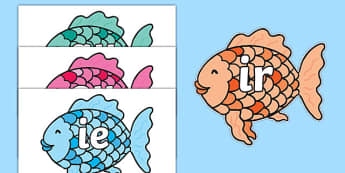 Phase 5 Phonemes on Fish to Support Teaching on The Rainbow Fish - Phonemes, phoneme, Phase 5, Phase five, Foundation, Literacy, Letters and Sounds, DfES, display