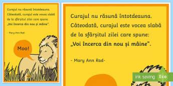 Curajul nu răsună întotdeauna  - Planșă motivațională - motivație, dezvoltare personală, română, pozitiv, gândire pozitivă, motivația învățării,