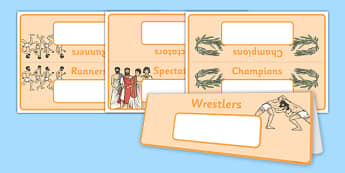 Ancient Olympics Group and Table Signs - ancient olympics, group, table, signs, display