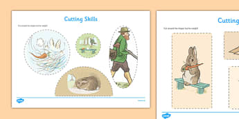 Beatrix Potter - The Story of a Fierce Bad Rabbit Cutting Skills Worksheet - beatrix potter, fierce, bad, rabbit