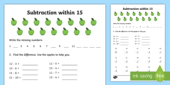 Subtraction within 15 Activity Sheet - NI KS1 Numeracy, subtraction within 15, apples, homework, home learning, worksheet