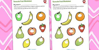 Favourite Fruits Worksheet - fruit, favourite fruits, my favourite fruits, my favourite fruits worksheet, favourite fruits faces worksheet, fruit worksheet