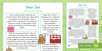 Dear Zoo Home Learning Challenges Reception FS2 - Dear Zoo, Rod Campbell, animals, letter to the zoo, homework, home learning, home school, parents, t