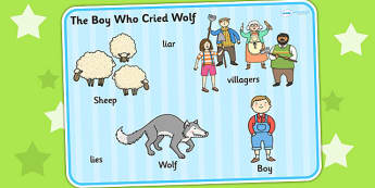 The Boy Who Cried Wolf Word Mat - visual aid, keyword mat, story