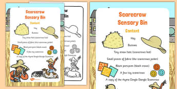 Scarecrow Sensory Bin - senses, PSHE, feel, touch, describing, speaking and listening