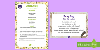 Dino Dig Explore Busy Bag Prompt Card and Resource Pack - Dinosaurs, sensory play, messy play, exploration, fossils, bones