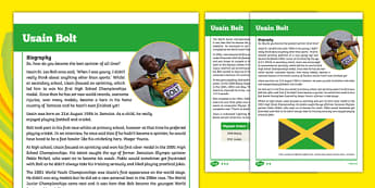 Usain Bolt Differentiated Fact File