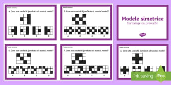 Găsește figura simetrică - simetrie, reflexivă, simetria reflexivă, matematică, forme, figuri, română, provocări, problem