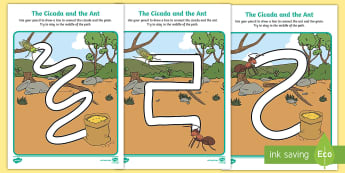 The Cicada and the Ant Pencil Control Path Activity Sheets - Traditional Thai Tales, fables, stories