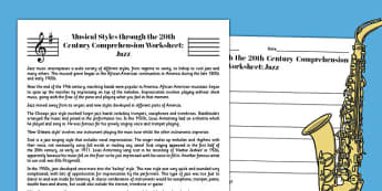 Jazz Reading Comprehension Activity - jazz, comprehension, worksheet