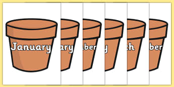 Months of the Year on Plant Pots - months, year, plant pots, plant, pots