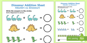 Dinosaur Addition Activity Sheet English/Romanian - Dinosaur Addition Sheet - dinosaur themed, addition sheet, EAL, worksheet