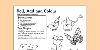 Garden Colour and Roll Worksheet Polish Translation - polish, garden, colour, roll, worksheet, back garden, outside