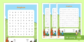 Thailand Songkran Festival 13th April Word Search - Thailand Songkran Festival 13th April, thailand, wordsearch, worksheet, keywords, songkran, thailand