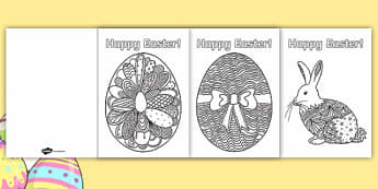 Adult Colouring Mindfulness Easter Cards - Easter UK, christian, christianity, festival, spring, rabbit, card, adult, adult mindfulness, adult colouring