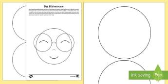 Der Bücherwurm Anleitung für Lehrkräfte - Welttag des Buches, Lesen, World Book Day, reading,German