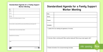 Standard Agenda for a  Family Support Worker Meeting Planning Template - Young People & Families Case File Recording, referral, chronology, contents page,buddy system, safeg