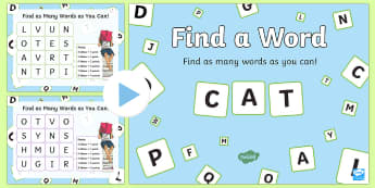 Find a Word  PowerPoint-Scottish - CfE Literacy, reading comprehension strategies, find a word, boggle, literacy game,Scottish