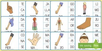 Ficha de buscar sílabas: Mi cuerpo - Mi cuerpo, proyecto, conocimiento de mí mismo, lecto, escritura, escribir, palabras,Spanish
