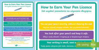 How to Earn Your Pen Licence Display Poster English/Polish - How To Earn Your Pen Licence Display Poster - how, earn, pen licence, display, poster,pen liscence,p