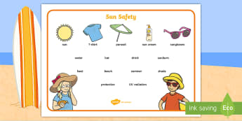 Sun Safety Word Mat - sun safety, sun, protection, sun screen, hats, UV, safe, safety, summer, beach, wordmat, word mat