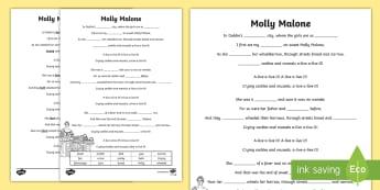 Molly Malone Writing Activity Sheet - ROI- Irish Songs, Seachtain na Gaeilge, cloze, song, song lyrics, Molly Malone, cloze, St Patrick's
