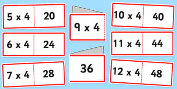 4 Times Tables Cards - times table, times tables, cards, 4, fold, activity
