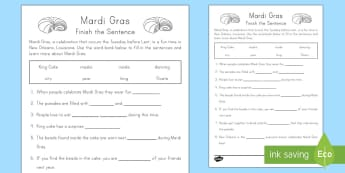 Mardi Gras Finish the Sentence 1st Grade Activity Sheet - Mardi Gras, Fat Tuesday, Shrove Tuesday, Carnival, comprehension, missing words, pancake day, readin