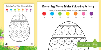 Times Tables Easter Egg Colouring Activity Sheet - ROI Lent/Easter 2017, easter egg, times tables, multiplication, colouring activity.,Irish