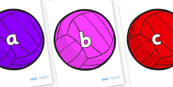 Phase 2 Phonemes on Water Polo Balls - Phonemes, phoneme, Phase 2, Phase two, Foundation, Literacy, Letters and Sounds, DfES, display